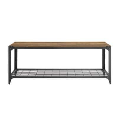 48 in. Reclaimed Barnwood Industrial Angle Iron Entry Bench