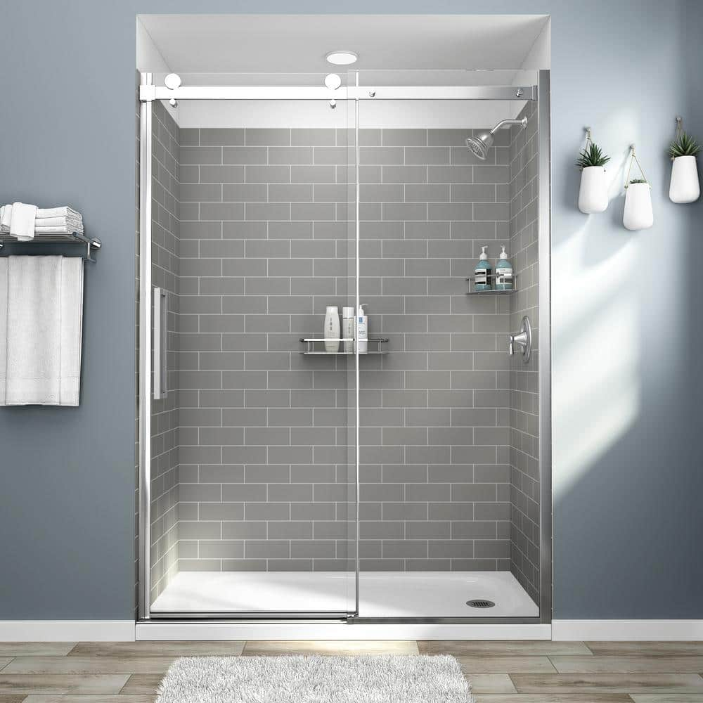 American Standard Passage 32 In X 60 72 4 Piece Glue Up Alcove Shower Wall Gray Subway Tile P2969swt 376 The Home Depot