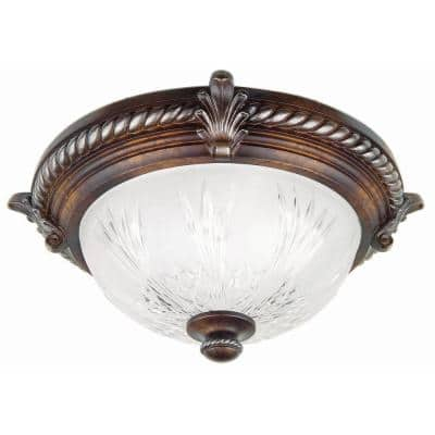 Bercello Estates 15 in. 2-Light Volterra Bronze Flush Mount with Etched Glass Shade