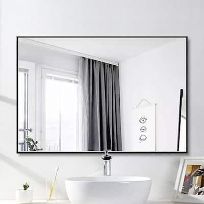 Medium Rectangle Black Hooks Contemporary Mirror (36 in. H x 24 in. W)