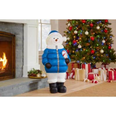 36 in. Christmas Snowman with Puffer Jacket holding Lollipop with LED lights