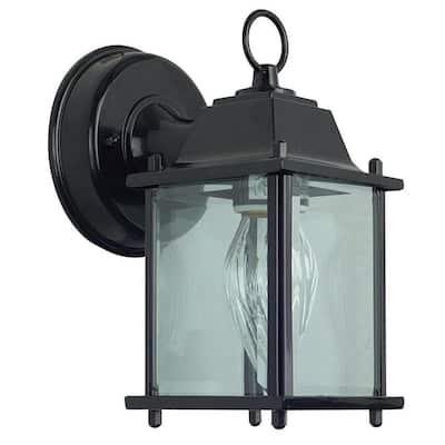 1-Light Black Outdoor Clear Beveled Glass Lantern Sconce