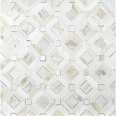 Milano Silver Pattern 11.85 in. x 11.85 in. x 8mm Stone Metal Blend Mesh-Mounted Mosaic Tile (9.8 sq. ft./Case)