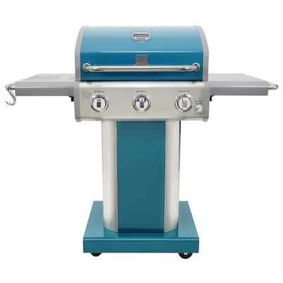 3-Burner Propane Gas Pedestal Grill with Folding Side Shelves-Teal