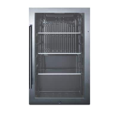 Shallow Depth 19 in. 3.1 cu. ft. Outdoor Mini Fridge in Stainless Steel without Freezer