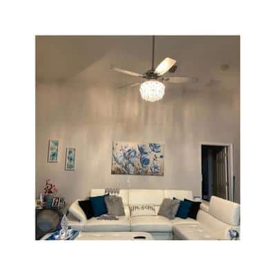 Amold 52 in. Indoor Chrome Downrod Mount Crystal Chandelier Ceiling Fan with Light and Remote Control