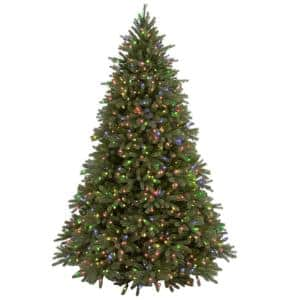 7-1/2 ft. Feel Real Jersey Fraser Fir Hinged Artificial Christmas Tree with 1250 Multicolor Lights