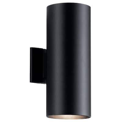 Independence 2-Light Black Outdoor Wall Cylinder Light