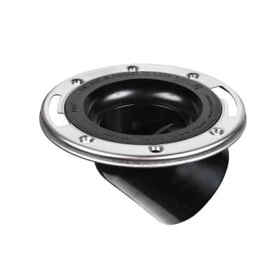 4 in. ABS Open Spigot Toilet Flange with 45° Angle and Stainless Steel Ring