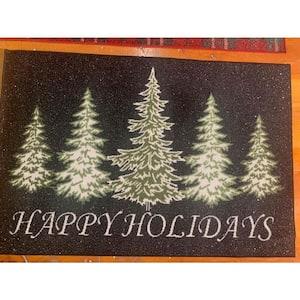 Trees Black 31 in. x 49 in. Holiday Door Mat