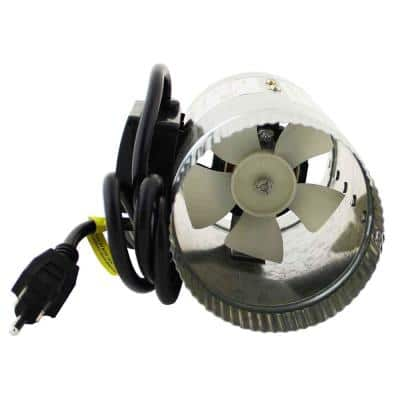 HomeAire IDF-4 70 CFM 4 in. Inlet and Outlet Inline Duct Booster Fan in Galvanized Steel Housing