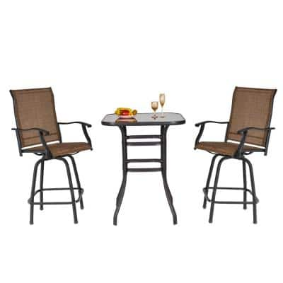 Brown 3-Piece Metal Bar-Height Outdoor Dining Set with 2-Chairs and Comfort Sling