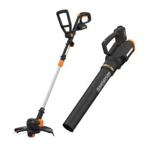 POWER SHARE 20V Cordless Lit-Ion 10 in String Trimmer and Leaf Blower Combo Kit (2 Tool) with 2 Batteries & Dual Charger