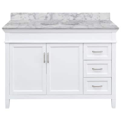 Ashburn 49 in. W x 22 in. D Bath Vanity in White RH Drawers with Marble Vanity Top in Carrara with White Oval Sink
