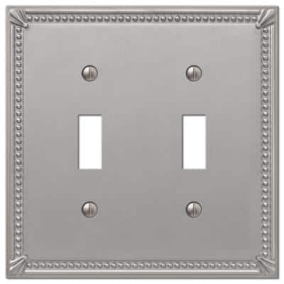 Imperial Bead 2 Gang Toggle Metal Wall Plate - Brushed Nickel