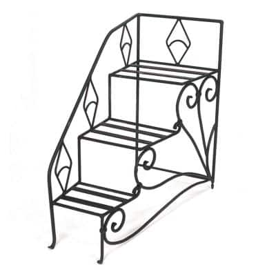 33 in. Tall Black Powder Coat Iron 3-Level Peacock Steps Plant Stand Left Rail