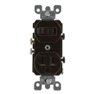 20 Amp Commercial Grade Combination Single Pole Switch and Receptacle, Brown