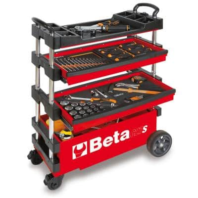 C27S-R 15 in. Folding Tool Utility Cart for Portable Use-Red, (Tools Not Included)