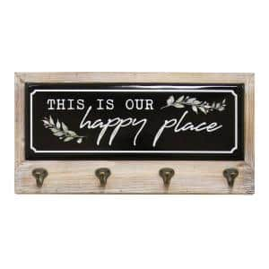 This Is Our Happy Place Metal and Wood Coat Rack By SHD
