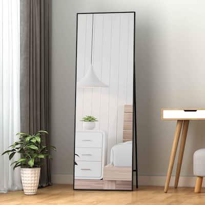 Lester 65 in. x 22 in. Black Modern Rectangle Aluminum Alloy Framed Full-Length Standing Mirror