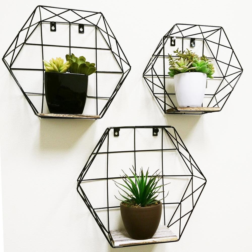 Dark Grey /& White Set Of 3  Geometric Hexagonal Wall Display Shelves  In Grey