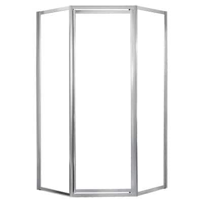 Tides 16-3/4 in. W x 24 in. W x 16-3/4 in. W x 70 in. H Framed Neo-Angle Shower Door in Silver Finish with Clear Glass