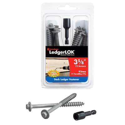 1/4 in. 3-5/8 in. LedgerLok Coarse Steel External Hex Drive, Hex Head Ledger Board Wood Screw Fasteners (12-Pack)