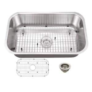 Undermount 16-Gauge Stainless Steel 29-3/4 in. 0-Hole Single Bowl Kitchen Sink with Grid and Drain Assembly