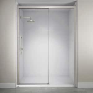 60 in. x 76 in. Semi-Frameless Concealed Sliding Shower Door in Brushed Nickel