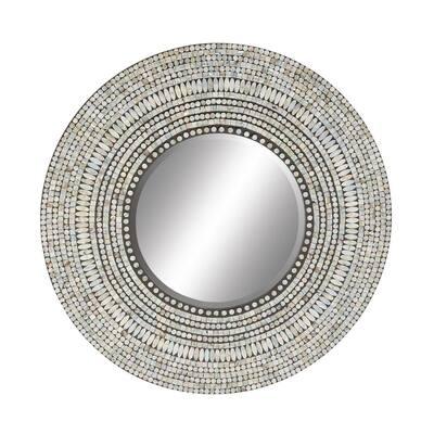 "Large Round Coastal Shell Wall Mirror, 32"" x 32"""