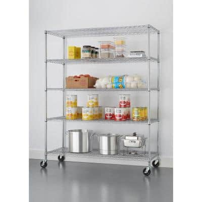 Chrome 5-Tier Rolling Chrome-Plated Steel Wire Shelving Unit (60 in. W x 77 in. H x 24 in. D)