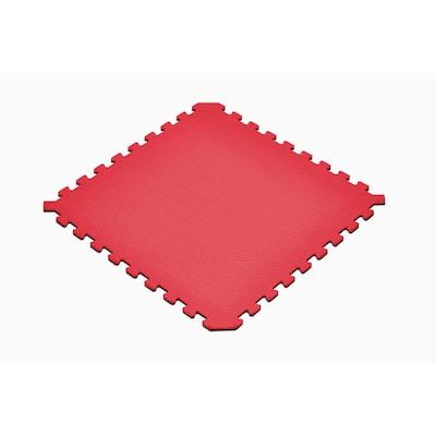 Red/Black 24 in. x 24 in. EVA Foam Truly Reversible Interlocking Tile (30-Tile)
