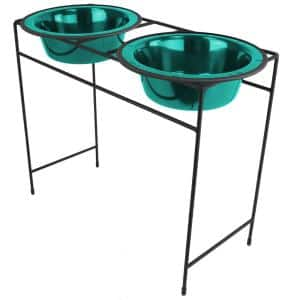 Modern Double Diner Feeder with Stainless Steel Cat/Dog Bowls, Caribbean Teal