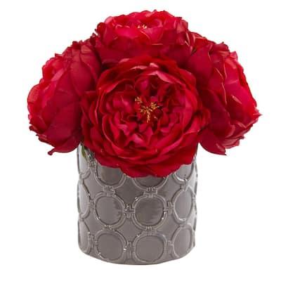 Indoor Large Rose Artificial Arrangement in Gray Vase