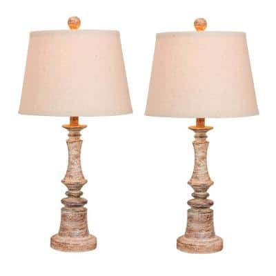 Pair of 26.5 in. Distressed Resin Table Lamps in a Cottage Antique Beige
