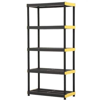 Black 5-Tier Plastic Garage Storage Shelving Unit (36 in. W x 74 in. H x 18 in. D)