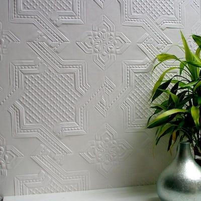 Seymour Paintable Supaglypta White & Off-White Wallpaper Sample