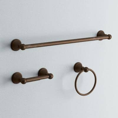 Crestfield 3-Piece Bath Hardware Set with Towel Ring Toilet Paper Holder and 24 in. Towel Bar in Venetian Bronze