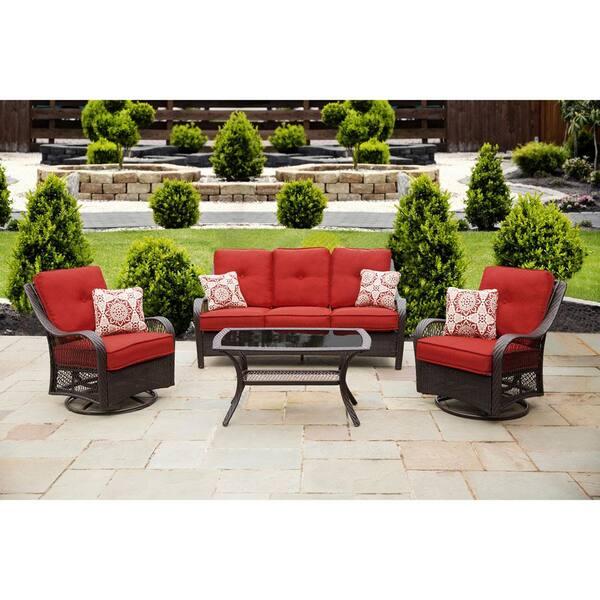 Cambridge Merritt 4 Piece Steel Outdoor, Red Outdoor Furniture