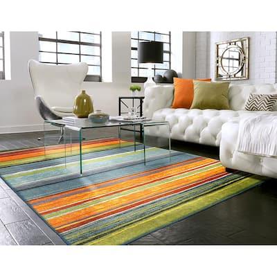Rainbow Multi 4 ft. x 6 ft. Machine Washable Striped Area Rug
