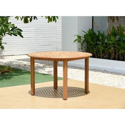 Seward Round Teak Finish Outdoor Dining Table