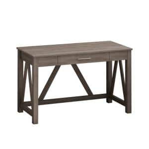 46.1 in. H Rectangle Light Brown Wood Writing Desk Computer Desk with Drawer Study Table Home Office Workstation