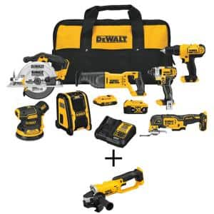 20-Volt MAX Cordless Combo Kit (7-Tool) with (1) 20-Volt 4.0Ah Battery, (1) 20-Volt 2.0Ah Battery & 4-1/2 in. Grinder