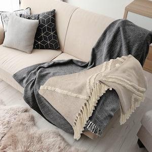 Fringe Tufted Geometric Beige / Cream Cotton Throw Blanket
