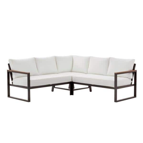 Hampton Bay West Park Black Aluminum Outdoor Patio Sectional Sofa Seating Set With Cushionguard White Cushions 501 0606 000 The Home Depot