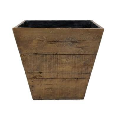 20 in. Square in a Weathered Wood Brown Composite Faux Wood Farmhouse Planter