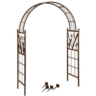 57 in. Wide Garden Arch with Dragonfly Motif Complete with Reeds and Cattails