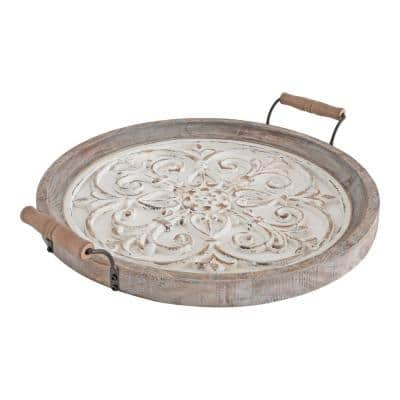 Hillrose 21 in. x 18 in. White Round Decorative Tray