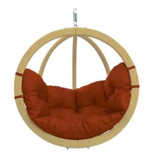 Globo Chair Single Person Laminated Spruce Patio Swing with Agora Terra Cotta Cushion