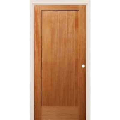 30 in. x 80 in. Left-Handed 1 Panel Shaker Unfinished Fir Wood Single Prehung Interior Door